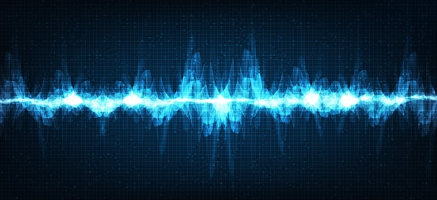 Elektronische schallwellen-richterskala für niedrige und hohe wellen auf blauem hintergrund, digitales und erdbebenwellendiagrammkonzept