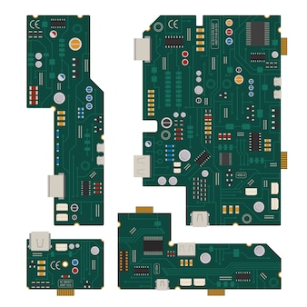 Elektronische schaltung. computermotherboard mit dioden und anderen bauteilen