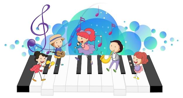 Elektronische tastatur mit vielen glücklichen kindern und melodiesymbolen auf blauem fleck