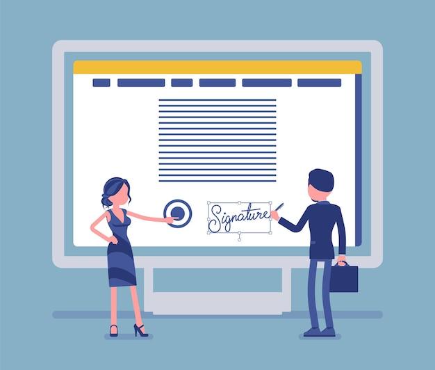 Elektronische unterschrift auf dem pc-bildschirm. esignatur-technologie für männliche und weibliche geschäftspartner unterzeichnen vereinbarung, sichere e-commerce-daten in elektronischer form. vektorillustration, gesichtslose charaktere