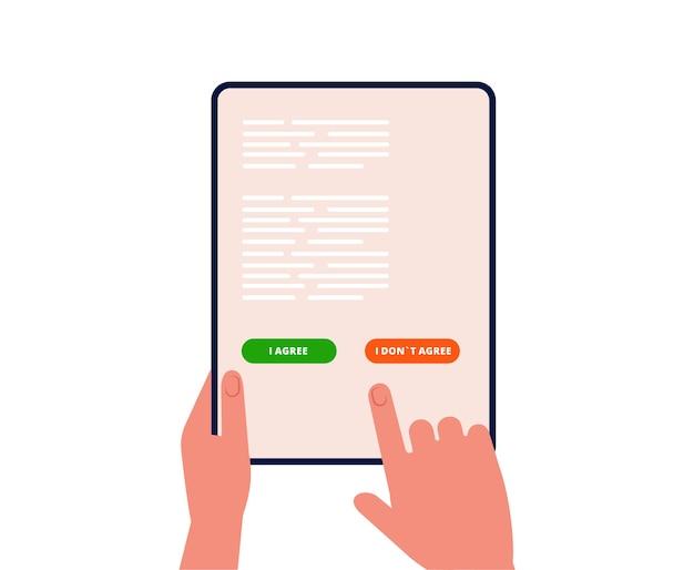 Elektronische vereinbarung. der mann entscheidet sich auf dem tablet-bildschirm zustimmen. online-geschäfts-, kauf- oder registrierungsbestätigung
