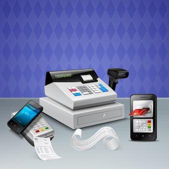 Elektronische zahlung durch nfc-technologie auf realistischer zusammensetzung des smartphones mit registrierkasseviolett