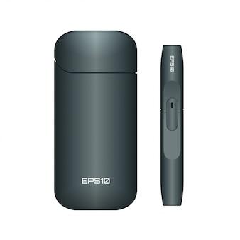 Elektronische zigarette. illustration der schwarzen elektronischen zigarette