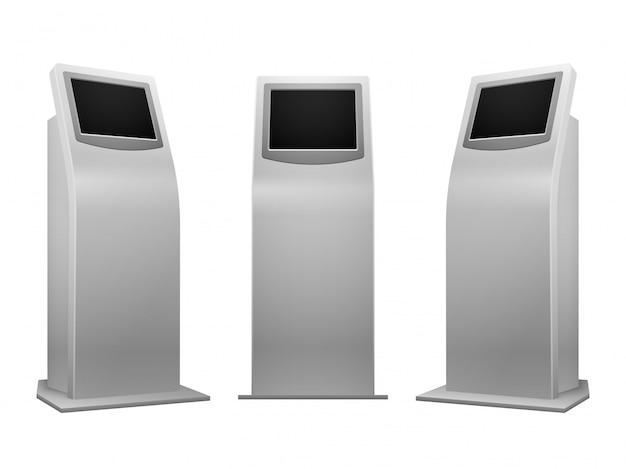 Elektronischer anzeigenstand zeigt wechselwirkenden kiosk an