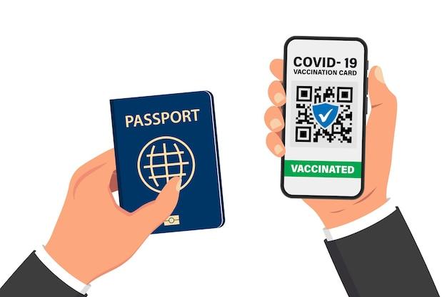 Elektronischer covid-19-immunitätspass. digitaler impfausweis mit qr-code. die geimpfte person verwendet qr-code auf dem mobiltelefon für sicheres reisen während der pandemie. flugtickets, bordkarte