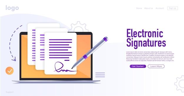 Elektronischer vertrag oder digitale signatur online-unterzeichnung eines elektronischen vertrags website-vorlage