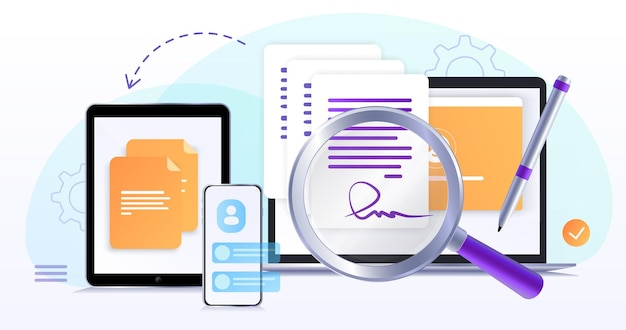 Elektronischer vertrag oder digitale unterschrift unterzeichnen eines elektronischen vertrags-online-dokumentsflaches symbol