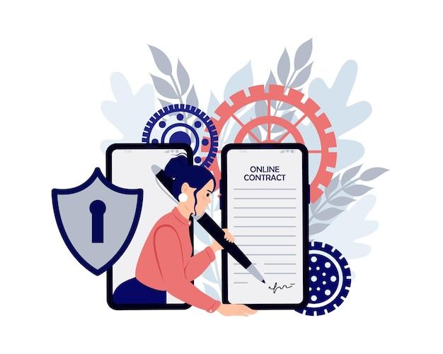 Elektronischer vertrag oder digitales signaturkonzept