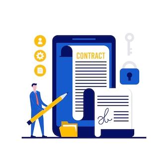 Elektronischer vertrag oder online-vertragskonzept mit charakter. e-vertrag dokument unterzeichnen über smartphone.