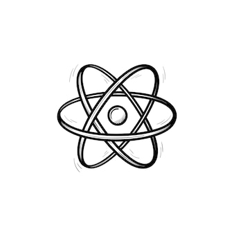 Elektronisches atom handgezeichnete umriss-doodle-symbol. vektorskizzenillustration des atommodells für druck, netz, handy und infografiken lokalisiert auf weißem hintergrund. chemie-lernkonzept.