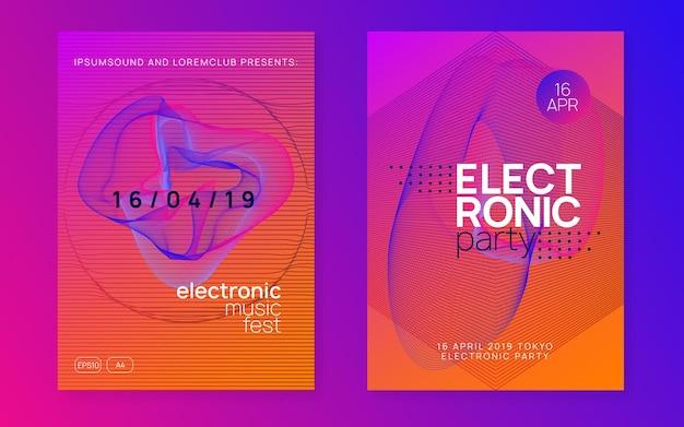 Elektronisches fest. helles show-banner-set. dynamische verlaufsform und -linie. neon-elektronischer festflyer. electro-dance-musik. trance-sound. plakat zur vereinsveranstaltung. techno-dj-party.