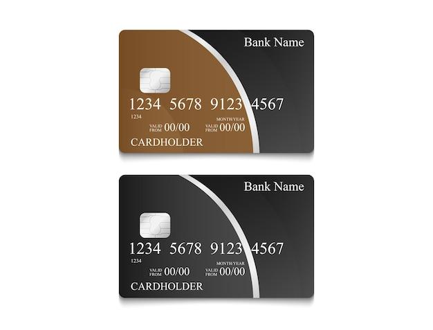 Elektronisches geldkartendesign in schwarzer farbe