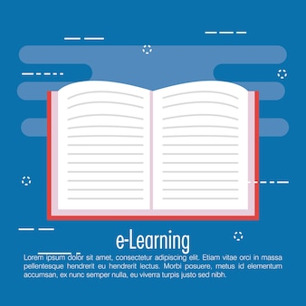 Elektronisches lernen mit ebook-vektor-illustration-design