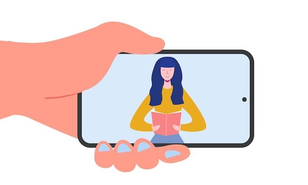 Elektronisches online-bibliotheksplakat mit smartphone und büchern, personencharakter lesen oder studenten studieren, e-book-reader, modernes literaturfan-konzept. flacher cartoon