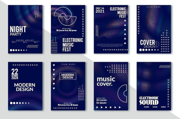Elektronisches solides party-plakat, abstrakte welle verzerrte linien