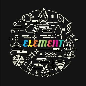 Element bunten farbverlauf mit linie icons set