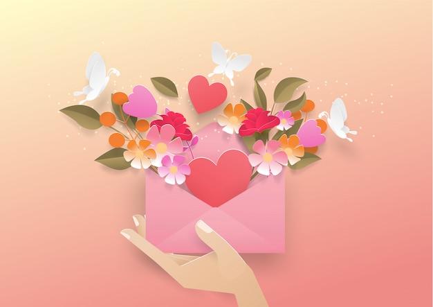 Element des valentinsgrußes und der liebe knallen oben vom buchstaben