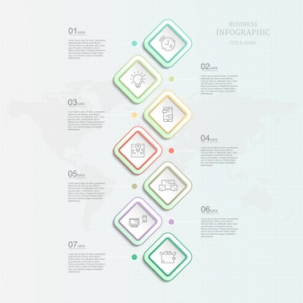 Element infographic-schablone sieben für anwesendes geschäftskonzept.