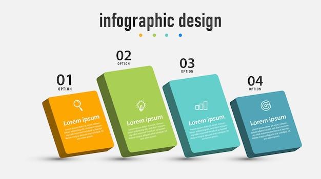 Element schritte infografiken design 3d-vorlage