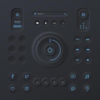 Elemente der benutzeroberfläche des neumorphischen designs