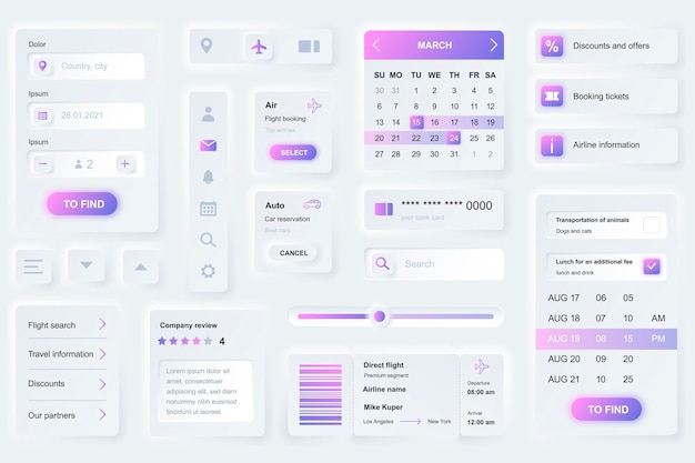 Elemente der benutzeroberfläche für die buchung der mobilen reise-app