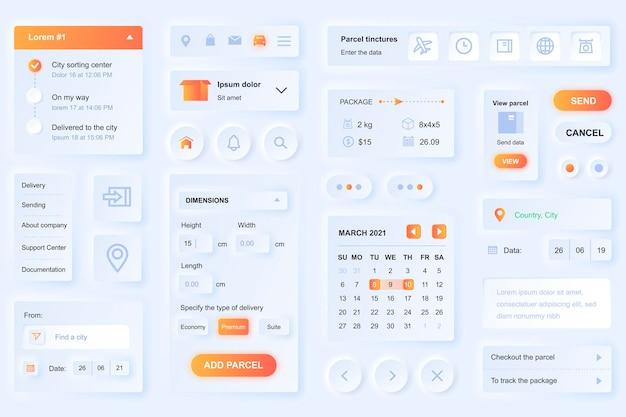Elemente der benutzeroberfläche für die lieferung mobile app