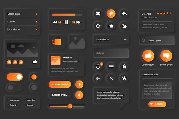Elemente der benutzeroberfläche für die mobile video tube app. live-streaming-service, multimedia-inhalte, video-player-gui-vorlagen. einzigartiges neumorphisches ui-ux-design-kit. formular und komponenten verwalten und navigieren