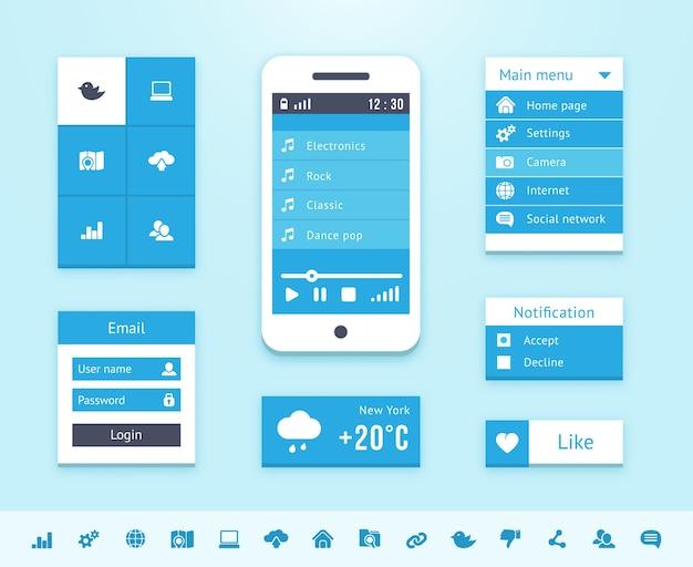 Elemente der betriebssystemschnittstelle in blauer farbe.