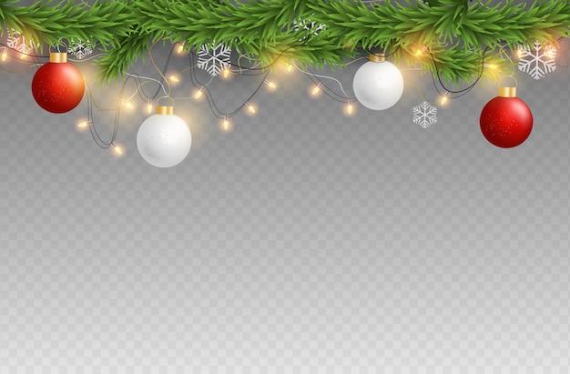 Elemente der frohen weihnachten und des guten rutsch ins neue jahr auf transparentem hintergrund