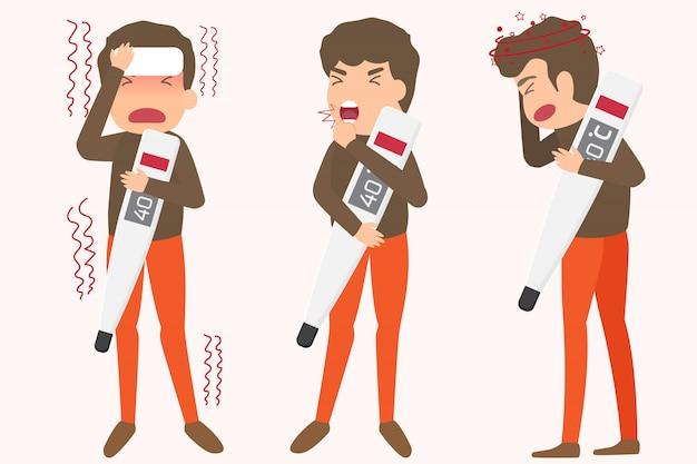 Elemente der grippe-krankheitssymptome
