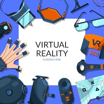 Elemente der virtuellen realität um quadrat mit platz für textillustration