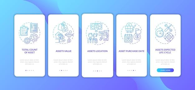 Elemente des investitionsinventars, die den seitenbildschirm der mobilen app mit konzepten integrieren