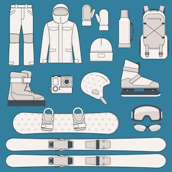 Elemente des wintersports und der aktivitäten. wintersportausrüstung icon set. illustration