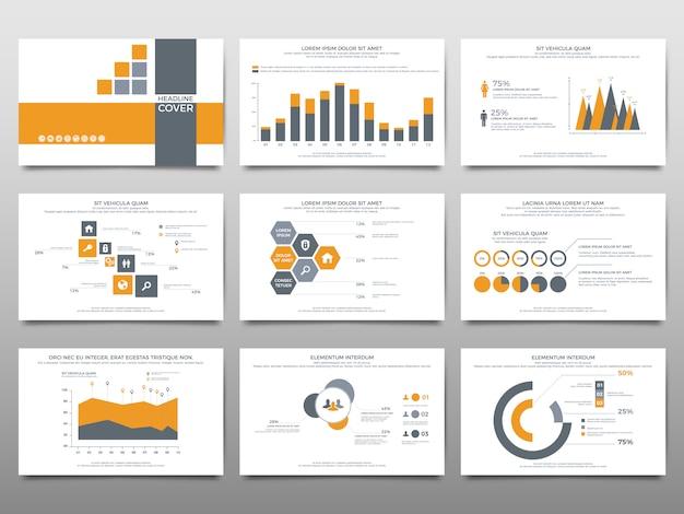 Elemente für infografiken auf weißem hintergrund. präsentationsvorlagen.