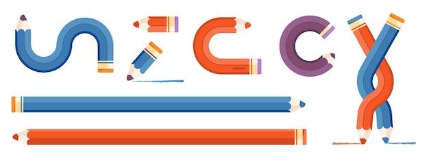 Elemente für infografiken. gerade, gedrehte und verschlungene bleistifte. blaue und rote bleistiftfarben für clipart.