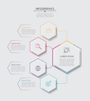 Elemente für infografiken. präsentation und diagramm. schritte oder prozesse. optionsnummer workflow-vorlage design.4 schritte.