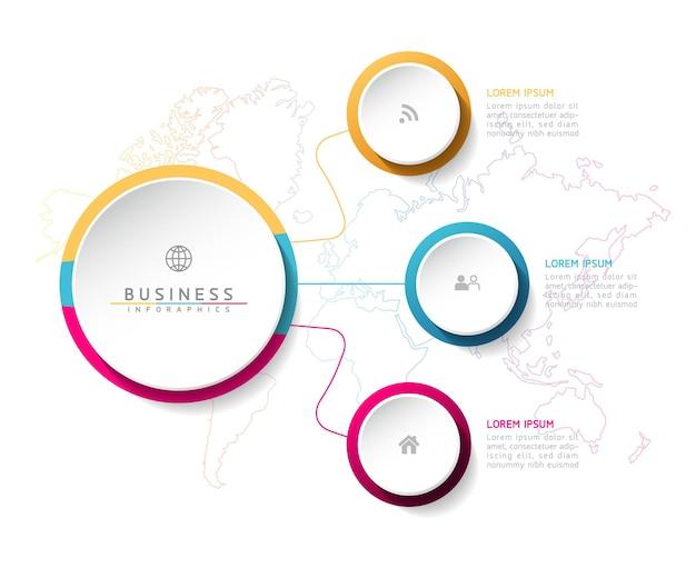 Elemente für infografiken. präsentation und diagramm. schritte oder prozesse. optionsnummer workflow-vorlagendesign. 3 schritte.