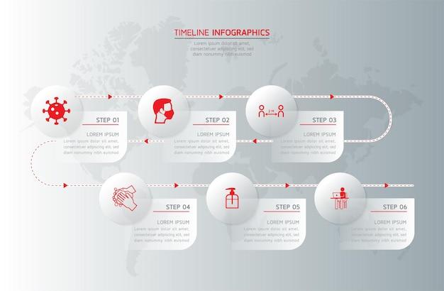 Elemente für infografiken. präsentation und diagramm. schritte oder prozesse. workflow-vorlage für optionsnummer. schritte.