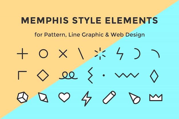 Elemente im memphis-stil
