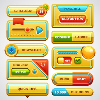 Elemente schaltflächen der spielbenutzeroberfläche, fortschrittsbalken, symbole und felder für das spiel