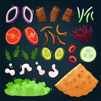 Elemente und zutaten, um ihr eigenes gyros-sandwich zu kreieren Premium Vektoren