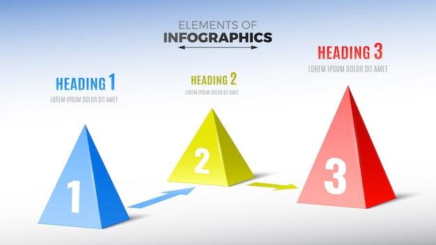 Elemente von infografiken in form von pyramiden.