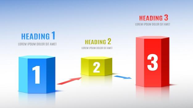 Elemente von infografiken in form von sechseckigen säulen.