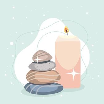 Elemente von spa-steinen und duftkerzen