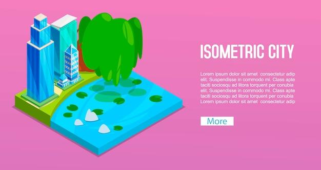 Elementisometrische gebäudestadt, -baum und -teich des stadtbilds. lokalisierte grüne stadt für immobilienanzeige, webseitenfahnen.