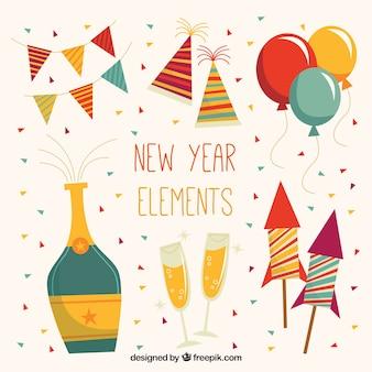 Elementos de fiesta de año nuevo