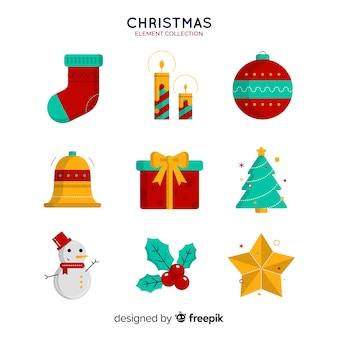 Elementsammlung der frohen weihnachten im flachen design
