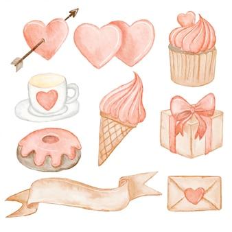 Elementsatz des valentinsgrußaquarells