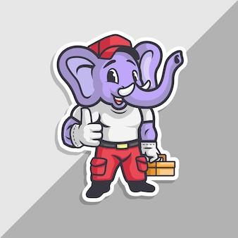 Elephant service retro logo. elefant mit gerätewerkzeugen