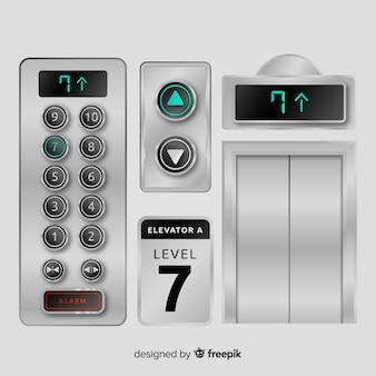 Elevator-elementsammlung mit realistischem design